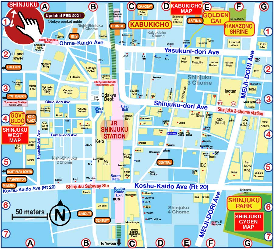 TOKYO POCKET GUIDE: Shinjuku map in English for Hotels on city map, statue map, cafeteria map, resort map, in a map, guam map, airstrip map,