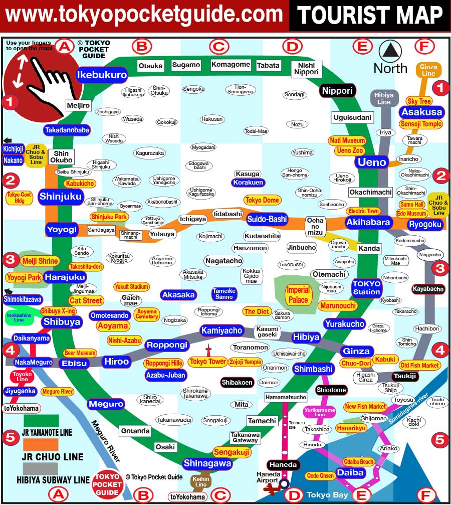 Subway Map For All Of Tokyo English.Tokyo Pocket Guide Tokyo Tourist Map With The Best Sightseeing